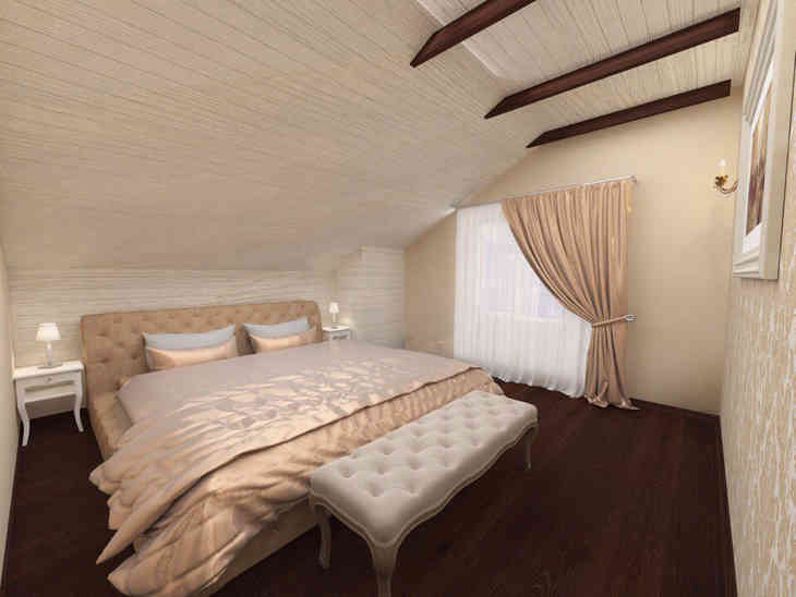 Дизайн спальни мансардного этажа