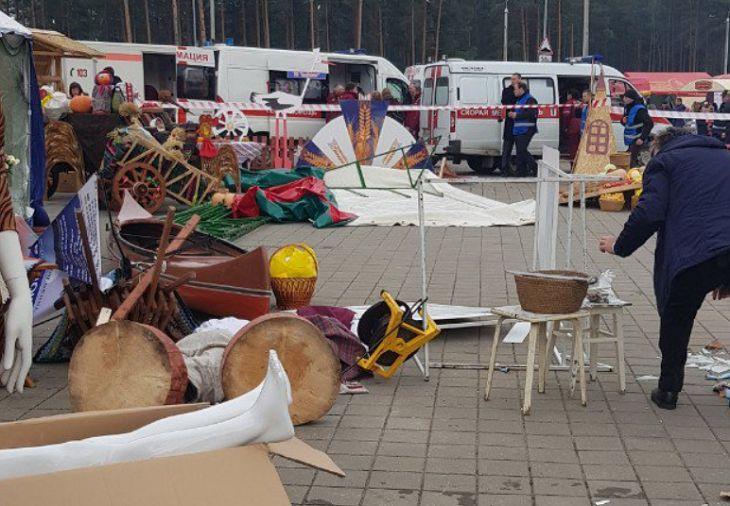 ЧП на «Дожинках» в Борисове:ветер опрокинул на людей палатку, три человека в больнице