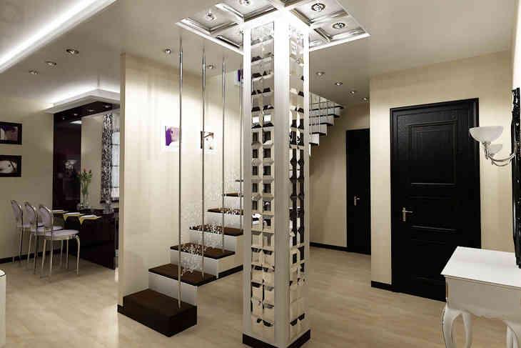 Зеркальные колонны в интерьере фото
